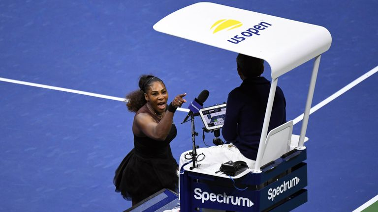 Serena Williams of the United States gestures to umpire Carlos Ramos at US Open