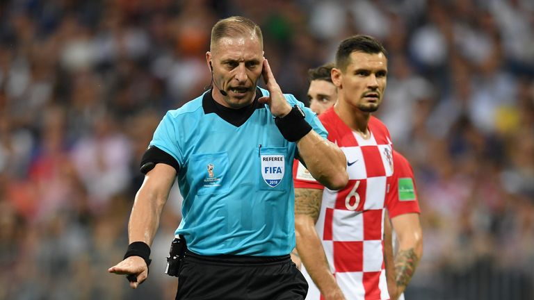 Referee Nestor Pitana consulted VAR and awarded France a penalty during the World Cup Final