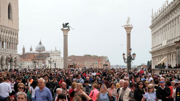 St. Mark's square in Venice is a popular tourist spot