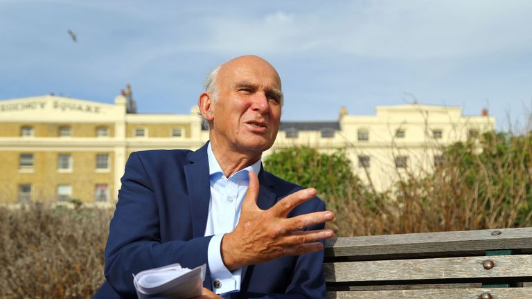 Leader of the Liberal Democrats Sir Vince Cable during an interview at the Liberal Democrat Autumn Conference in Brighton.