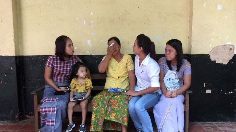 Relatives of detained Reuters journalists Wa Lone and Kyaw Soe Oo as they waited for their verdict trial