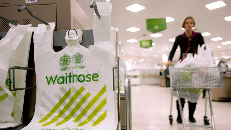A shopper passes by branded bags in the Canary Wharf store of Waitrose in London. Reuters