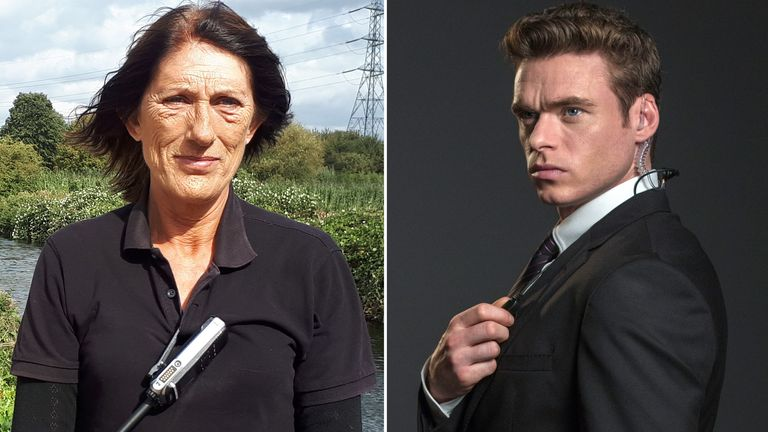 Walthamstow Wetlands bodyguard and Richard Madden. Pic: /BBC