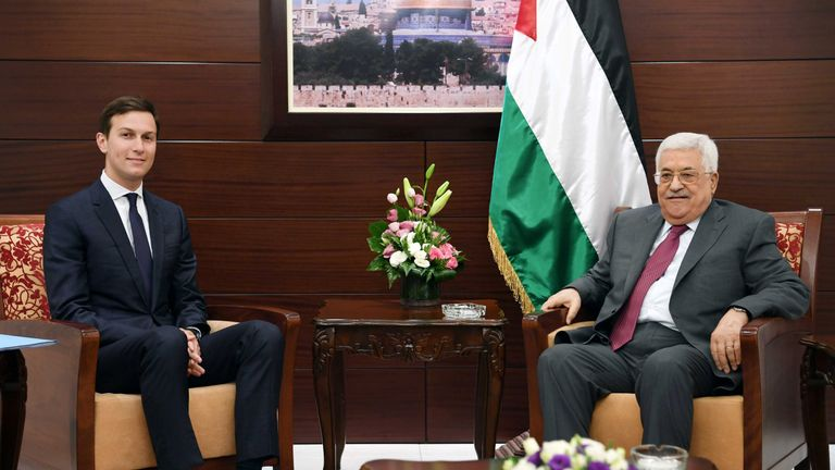 Palestinian President Mahmoud Abbas with Jared Kushner in the West Bank in June
