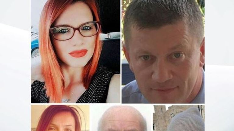 Five people were killed by Masood. Top: Andreea Cristea and Pc Keith Palmer. Bottom: Aysha Frade, Leslie Rhodes and Kurt Cochran