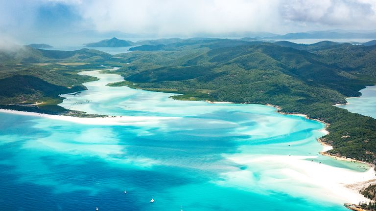 The Whitsunday Islands are off the Queensland coast