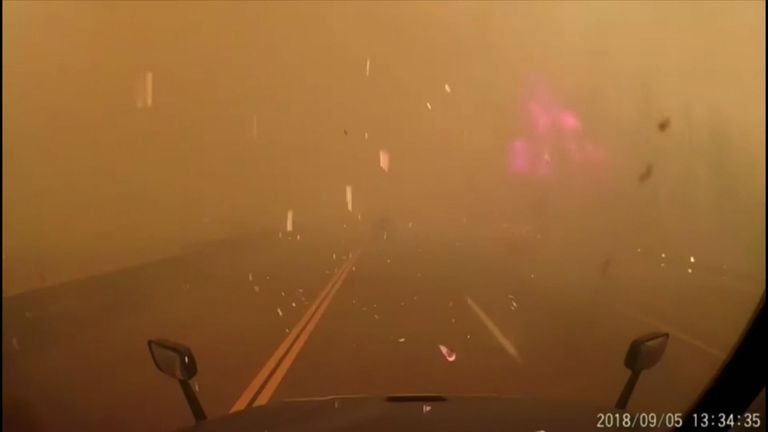 "A California trucker said he ""didn't have a choice"" but to drive through the Delta Fire on Wednesday, September 5, when the blaze ran up to Interstate 5."
