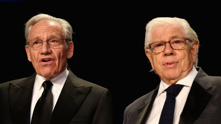 Bob Woodward (L) with carl Bernstein at the 2017 White House Correspondents' Association Dinner