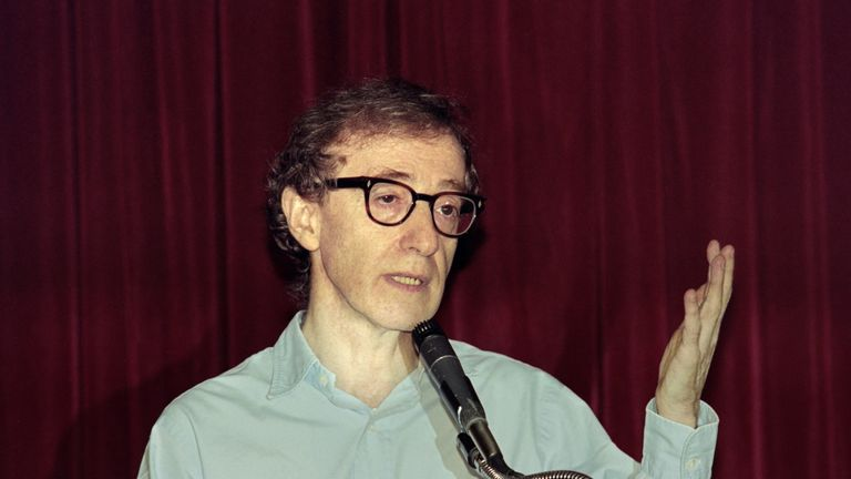 Woody Allen telling reporters in 1992 accusations he had molested two of his children were false