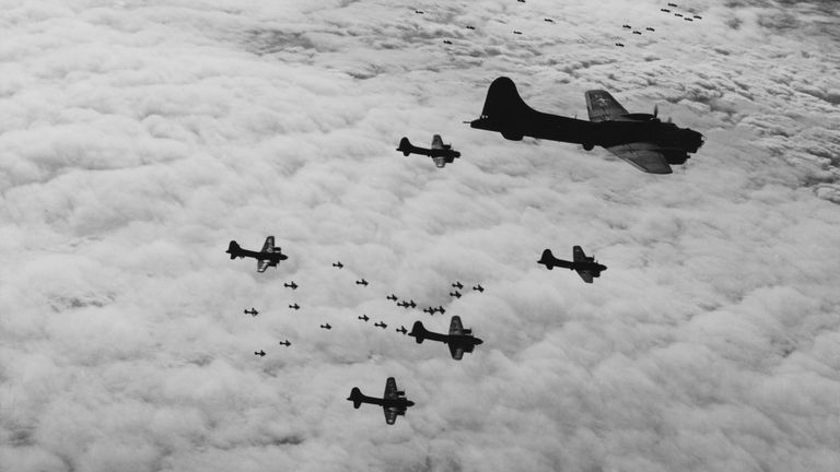 US bombers over Germany preparing for a strike against the Wilhelmshaven naval base