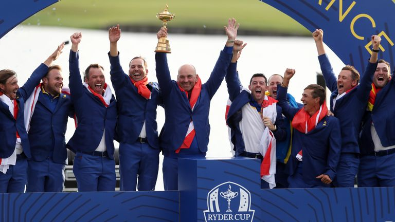 Team Europe captain Thomas Bjorn and Team Europe celebrate winning the Ryder Cup at Le Golf National, Saint-Quentin-en-Yvelines, Paris.
