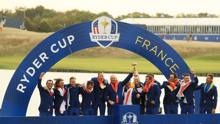 Europe with the Ryder Cup trophy