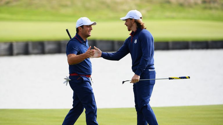 during the morning fourball matches of the 2018 Ryder Cup at Le Golf National on September 28, 2018 in Paris, France.