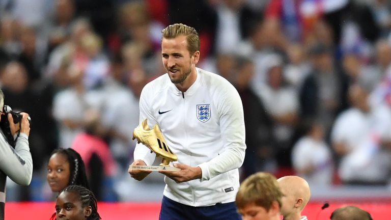 Kane was presented with the Golden Boot before England's game against Spain