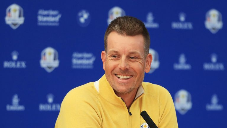 PARIS, FRANCE - SEPTEMBER 27:  Henrik Stenson of Europe attends a press conference prior to the 2018 Ryder Cup at Le Golf National on September 27, 2018 in Paris, France.  (Photo by Andrew Redington/Getty Images)