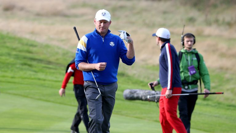 AUCHTERARDER, SCOTLAND - SEPTEMBER 28:  Jamie Donaldson of Europe walks down the 15th fairway shortly before Europe won the Ryder Cup after Donaldson defeated Keegan Bradley of the United States during the Singles Matches of the 2014 Ryder Cup on the PGA Centenary course at the Gleneagles Hotel on September 28, 2014 in Auchterarder, Scotland.  (Photo by Ross Kinnaird/Getty Images)