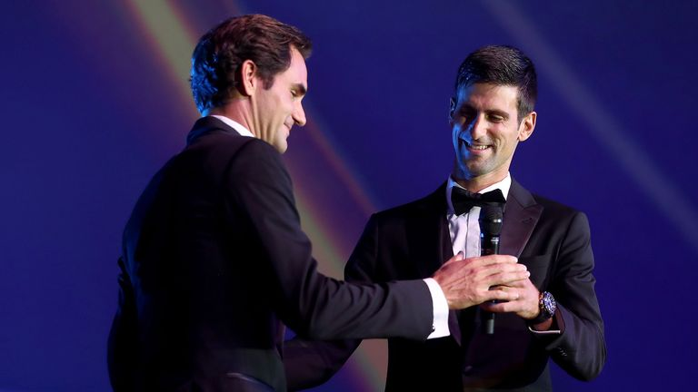 Watch Djokovic's priceless reaction after hitting Federer with a forehand