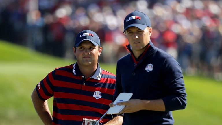 during morning foursome matches of the 2016 Ryder Cup at Hazeltine National Golf Club on October 1, 2016 in Chaska, Minnesota.