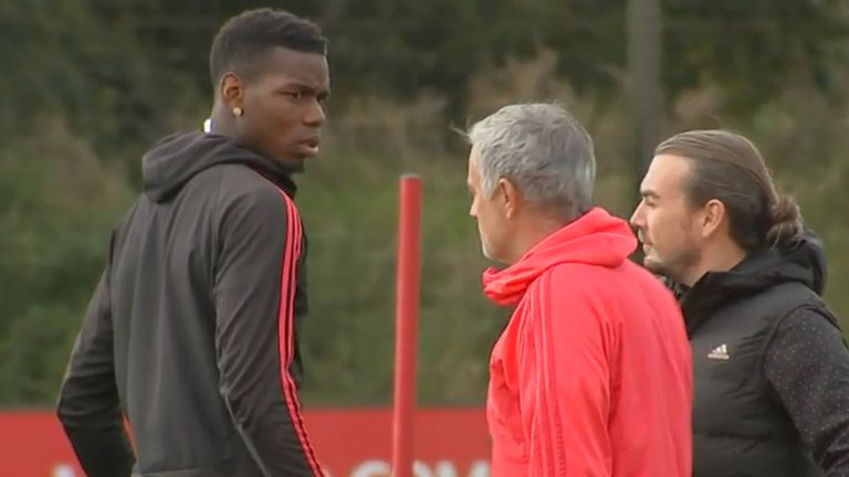 Jose Mourinho and Paul Pogba had an awkward exchange as the midfielder returned to training after being stripped of the Manchester United vice-captaincy