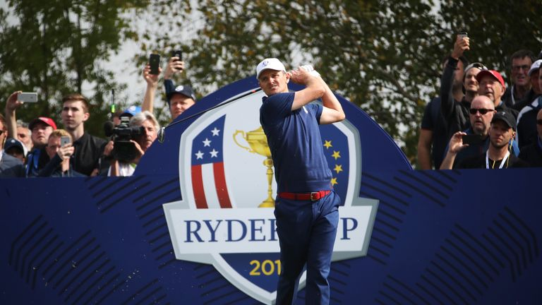 Justin Rose during the afternoon foursome matches of the 2018 Ryder Cup at Le Golf National on September 28