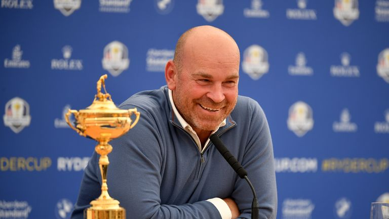 Thomas Bjorn was in good spirits at Monday's press conference