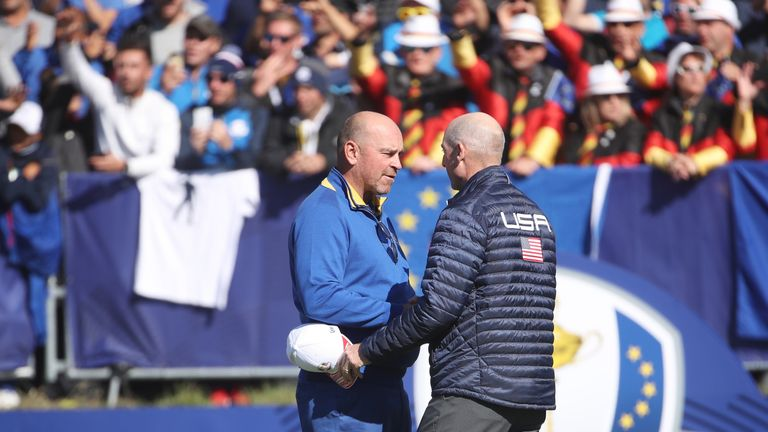 Thomas Bjorn and Jim Furyk during singles matches of the 2018 Ryder Cup at Le Golf National on September 30, 2018 in Paris, France.