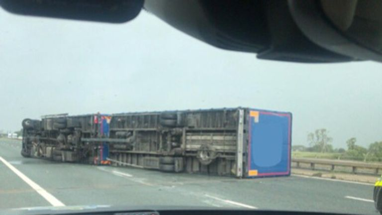 Storm Ali overturns a lorry between J43 and J44 on the M6 in Cumbria