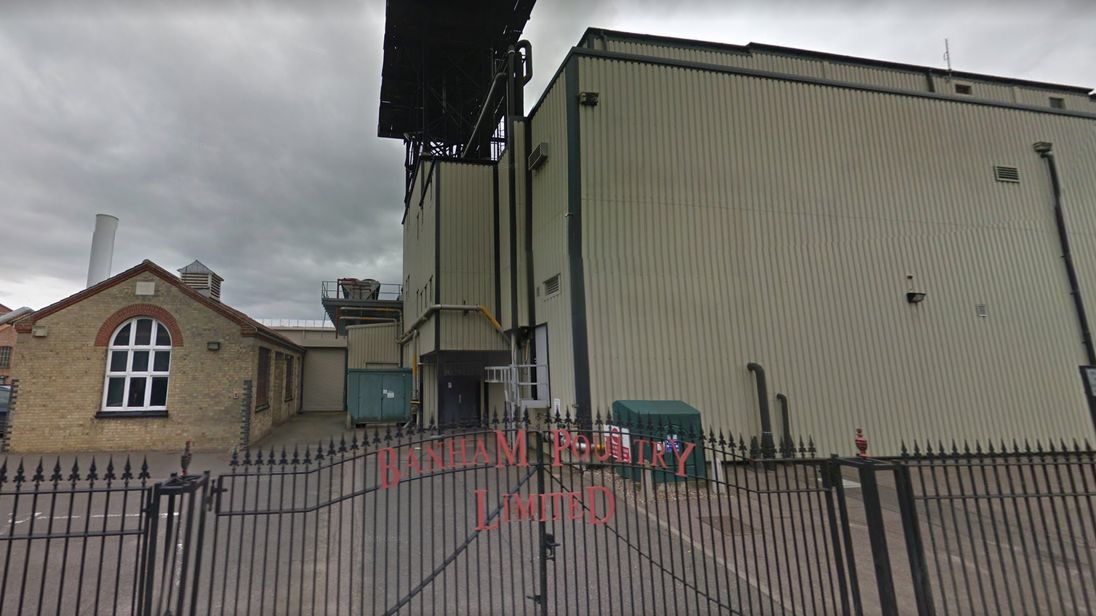 The incident happened at the Banham Poultry factory in Norfolk. Pic: Google Street View