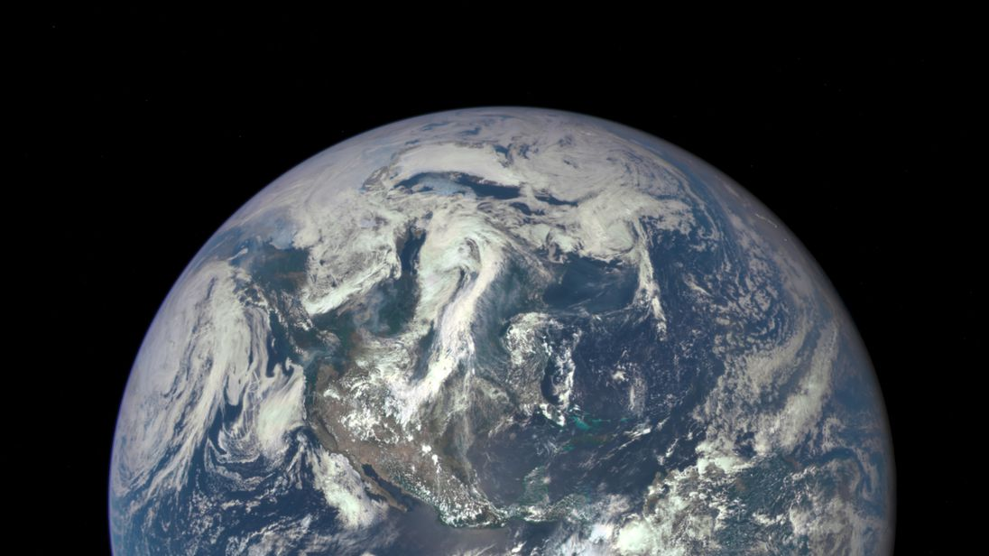 A photo of the Earth taken from a million miles away by a NASA camera on the Deep Space Climate Observatory spacecraft on July 6 2015