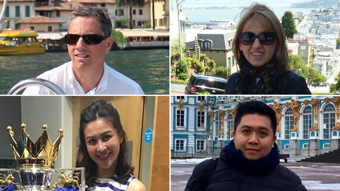 Victims clockwise from top left: Eric Swaffer, Izabela Roza Lechowicz, Kaveporn Punpare and Nursara Suknamai