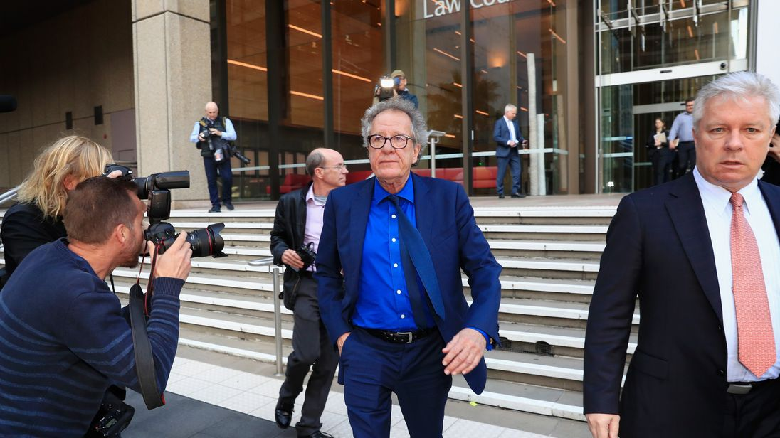 Geoffrey Rush leaves court after start of defamation trial against Sydney's Daily Telegraph, over articles alleging he behaved inappropriately during a 2015 stage production of King Lear