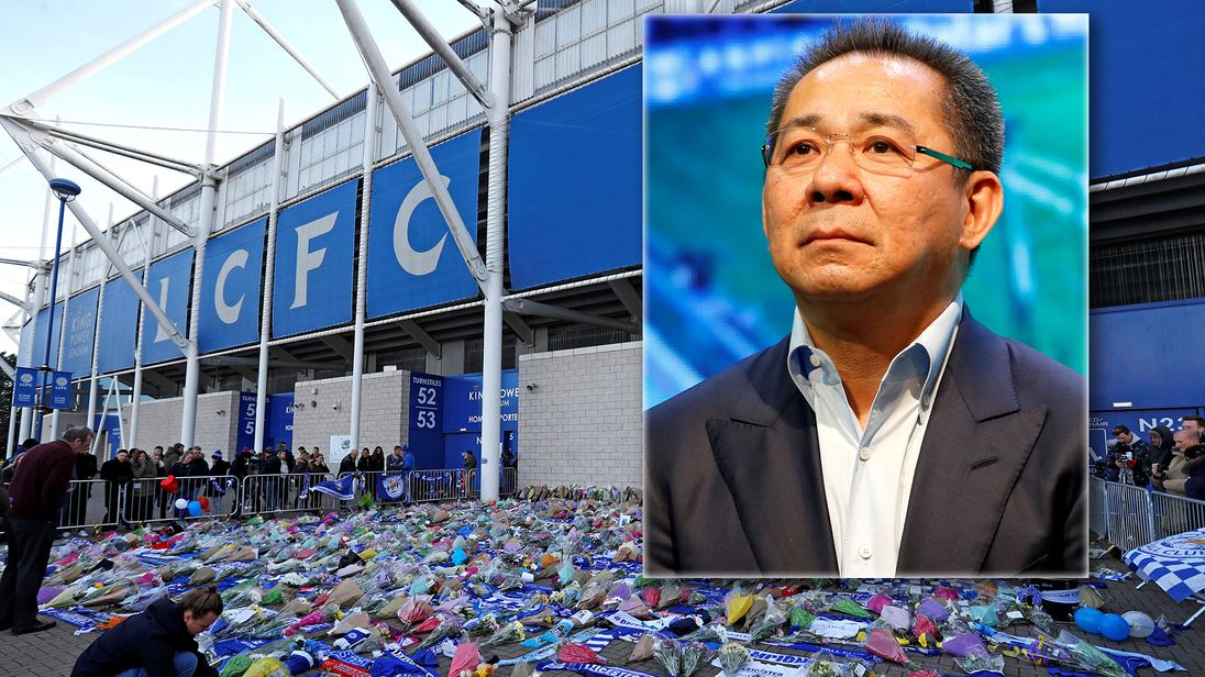 Leicester City football fans pay their respects outside the football stadium