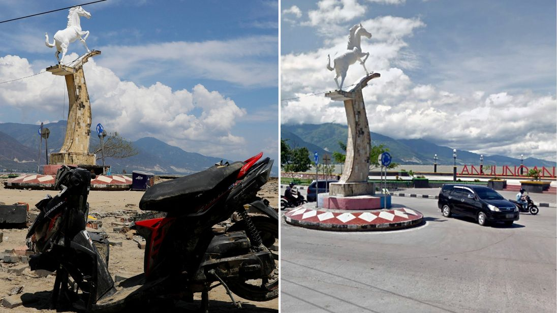 A before and after image of the horse statue on Palu's seafront