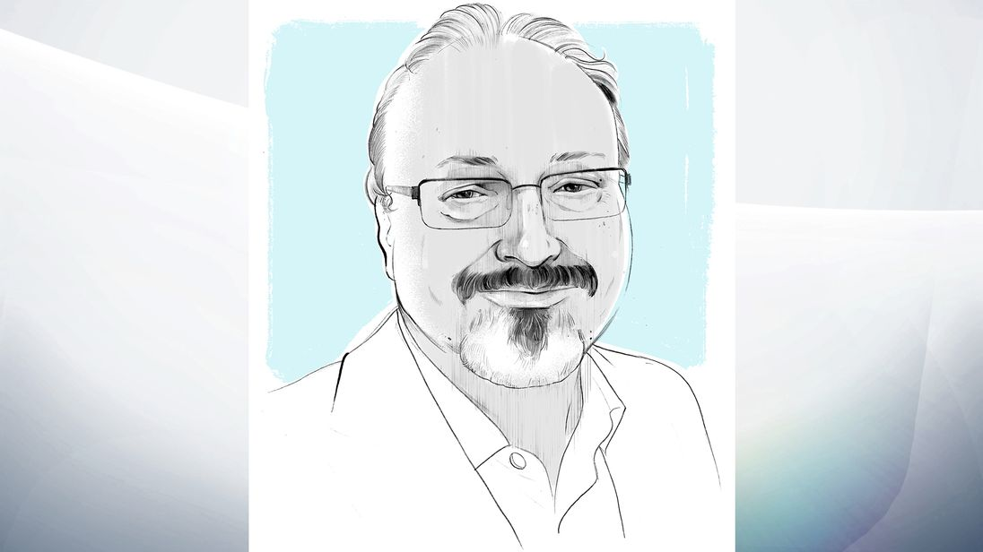 Jamal Khashoggi illustration. Pic: Alex Fine for The Washington Post