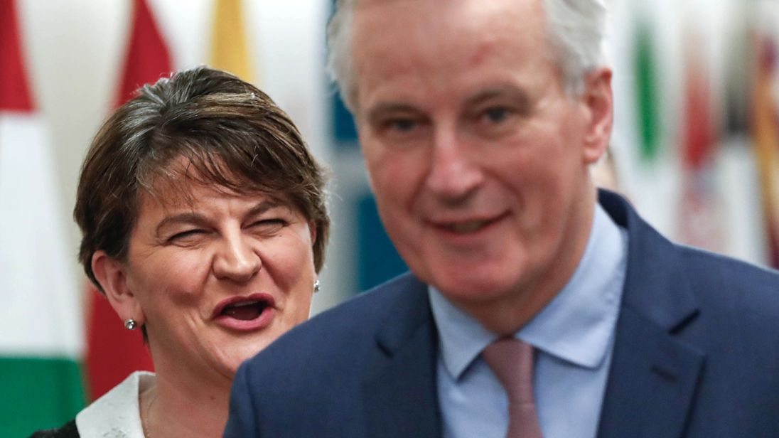 Democratic Unionist Party (DUP) Leader Arlene Foster (L) meets European Union's chief Brexit negotiator Michel Barnier at the European Commission headquarters in Brussels on March 6, 2018. / AFP PHOTO / POOL AND REUTERS / Yves HERMAN (Photo credit should read YVES HERMAN/AFP/Getty Images)