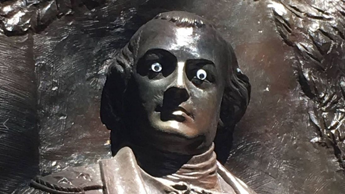 The city of Savannah is searching for a vandal who put googly eyes on the Nathanael Greene Monument in Johnson Square. Pic: City of Savannah
