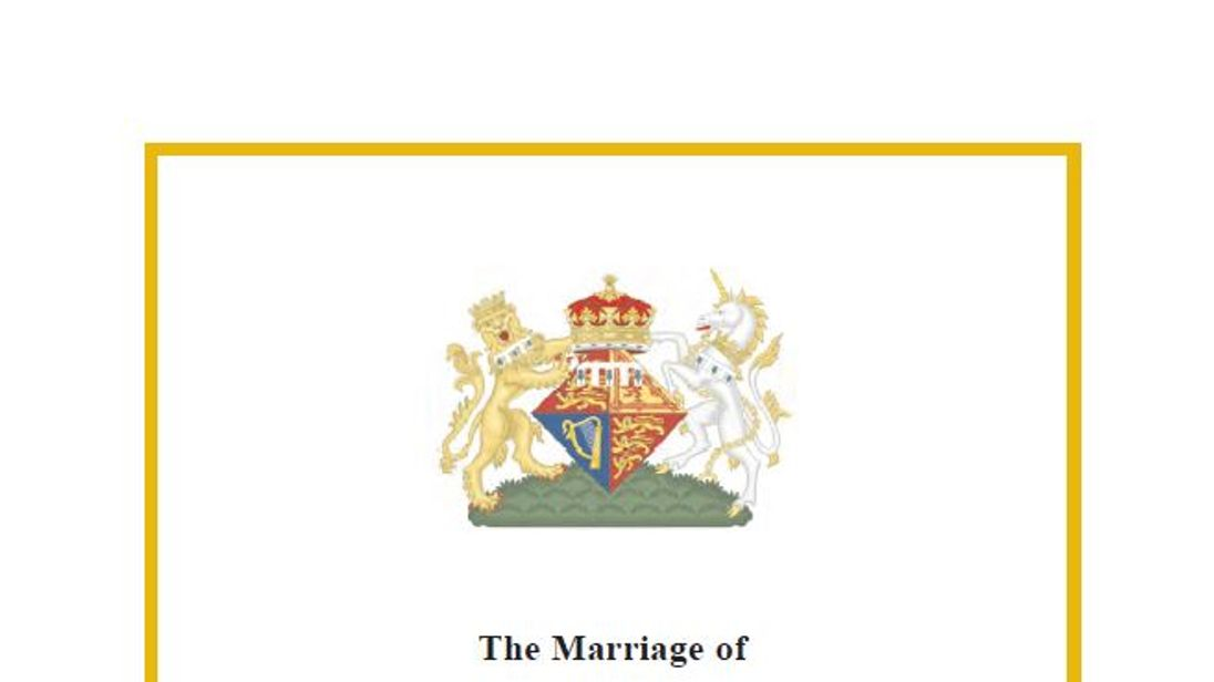 The order of service for Eugenie and Jack Brooksbank's wedding. Pic Buckingham Palace