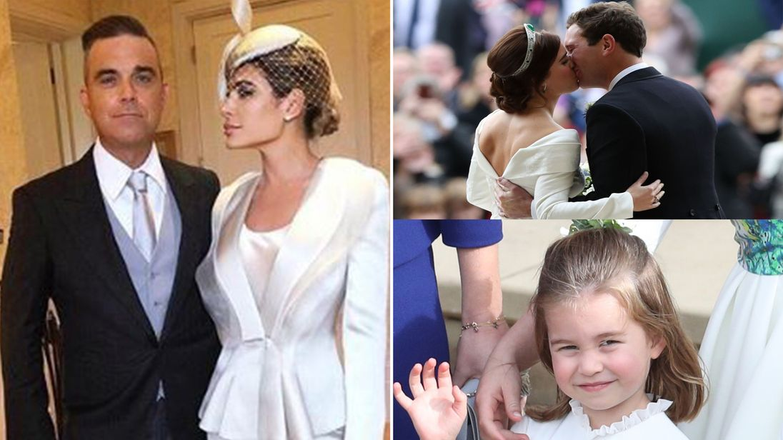 Robbie Williams and his wife Ayda Field attended Princess Eugenie's star-studded wedding