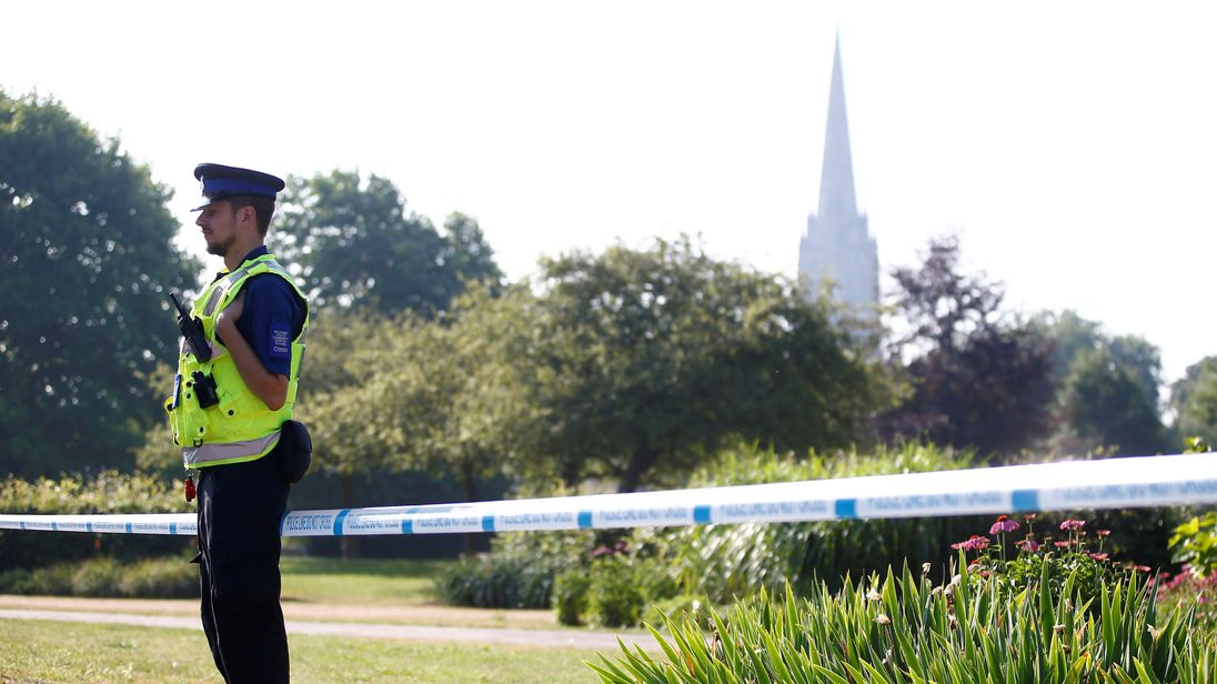 A police officer guards an area of Salisbury after the novichok attacks