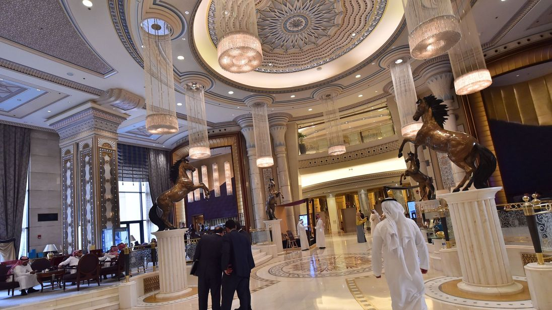 The event is at the Ritz-Cartlton hotel in Saudi capital Riyadh