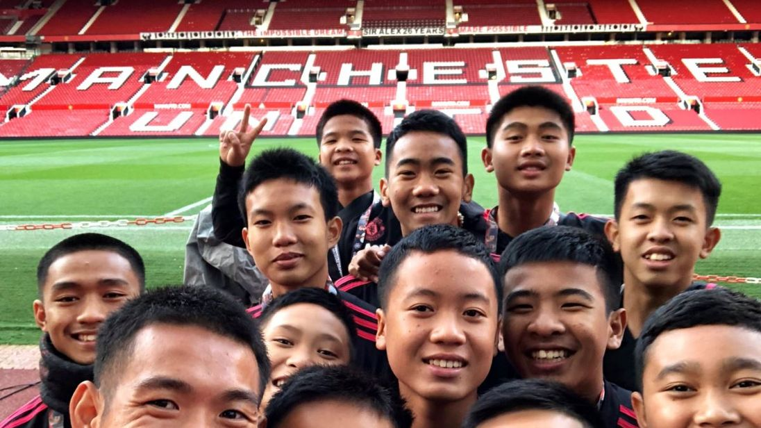 Thai cave boys visit Old Trafford