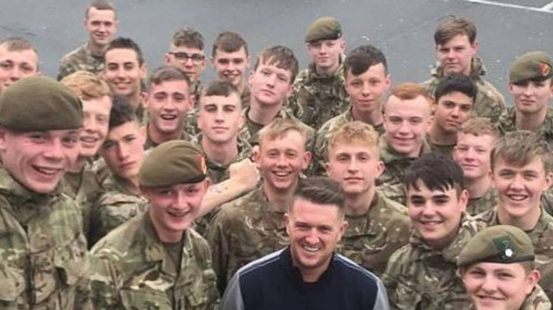 Trainee soldiers have been pictured with Tommy Robinson. Pic: Tommy Robinson/Facebook