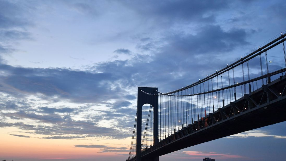 A picture shows the Verrazano Bridge, on July 1, 2017 in New York City