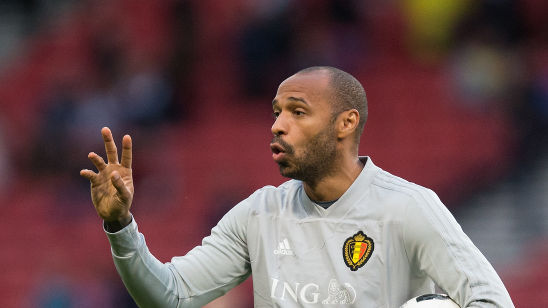 Belgium assistant coach Thierry Henry during the pre-match warm-up prior to the International Friendly against Scotland