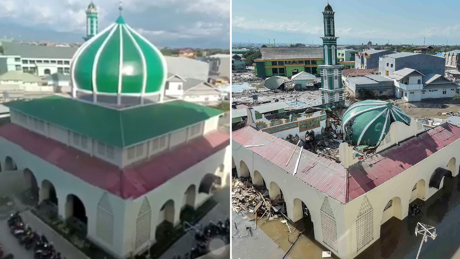 Indonesia tsunami: Before and after the earthquake