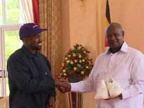 Kanye West presents Ugandan president with a pair of gym shoes