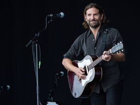 Bradley Cooper performs on the Pyramid Stage at Glastonbury in 2017, shooting for A Star Is Born
