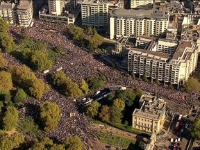 Hundreds of thousands of people attended the rally in London