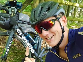 Charlie has cycled for 102 days so far. Pic: Charlie Condell