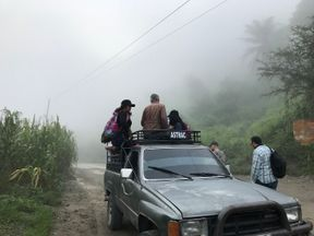 Sky's Stuart Ramsey travelled with the migrants on the back of a pickup truck